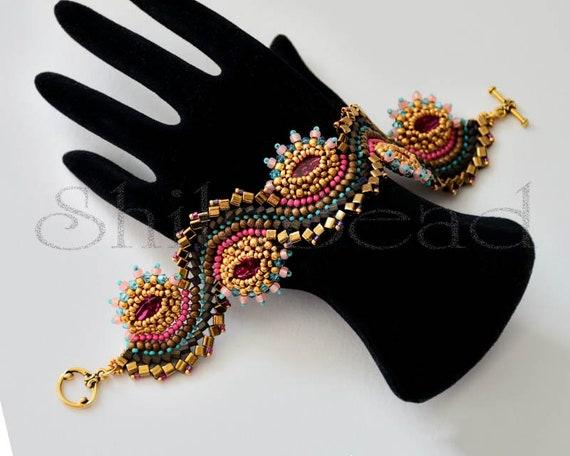 Beading Kit of Dragon Dance Bracelet reloaded I. No. 18 Gold/Bronze/Fuchsia