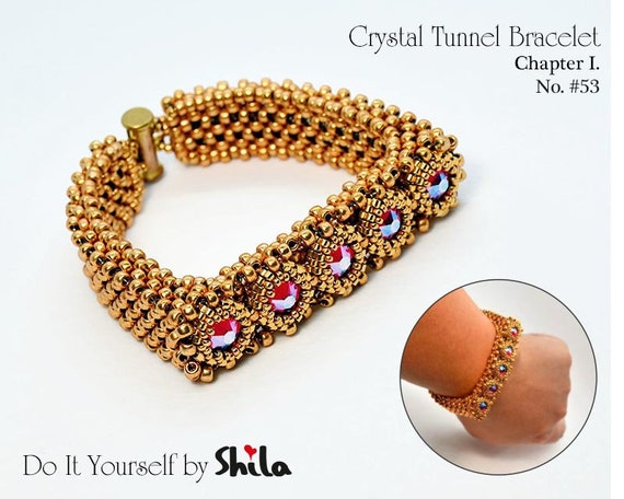 Beading Pattern Tutorial Step by step INSTANT download PDF - Crystal Tunnel Bracelet with rhinestones SS 40 No 53