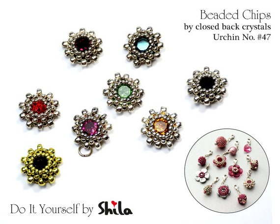 Beading Pattern Tutorial Step by step INSTANT download PDF - Beaded Chips URCHIN No 47