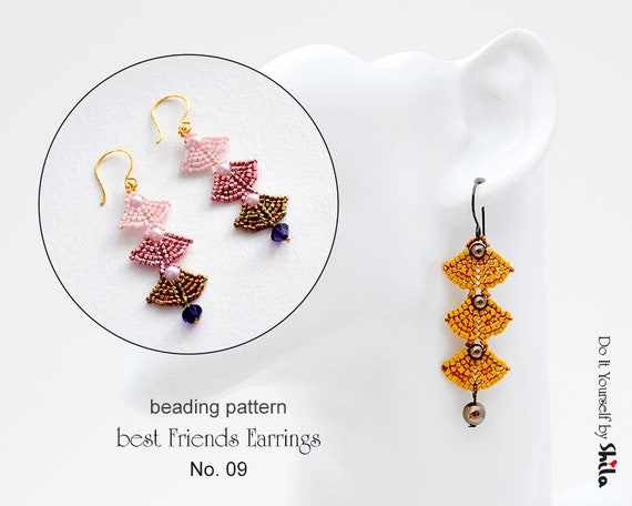Beading Pattern Tutorial Step by step INSTANT download PDF - best Friend Earrings No 09