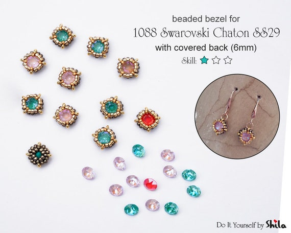 Step by step PDF Beading Pattern -  Bezel with covered back for 1088 Swarovski Chaton SS29 6 mm Round Stone