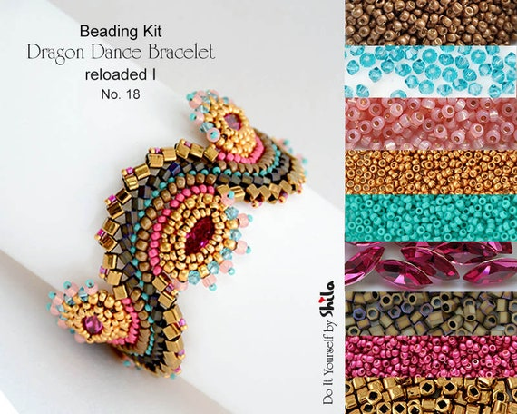Beading Kit of Dragon Dance Bracelet reloaded I. No. 18 Gold/Bronze/Fuchsia