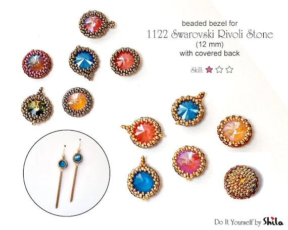 Step by step PDF Beading Pattern -  Bezel with covered back for 1122 Swarovski Rivoli 12 mm Round Stone