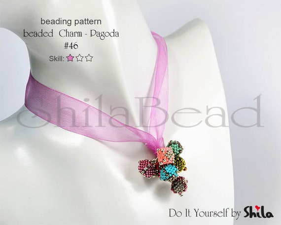 Beading Pattern Tutorial Step by step INSTANT download PDF - Beaded Charm - Pagoda No 46