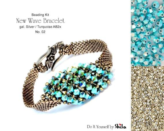 Beading Kit of New Wave Bracelet No 02 - Silver/Turquoise
