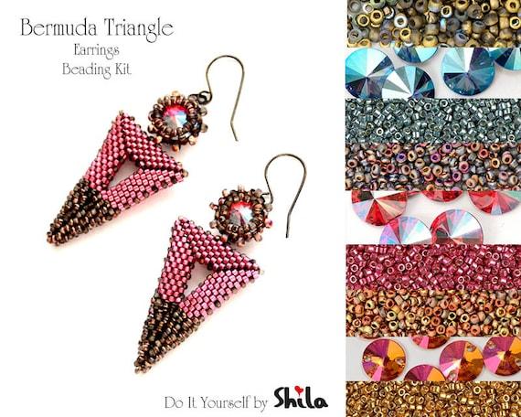 Beading Kit with Miyuki Delica Beads and Swarovski Rivoli 10 mm, Bermuda Triangle Earrings No 51
