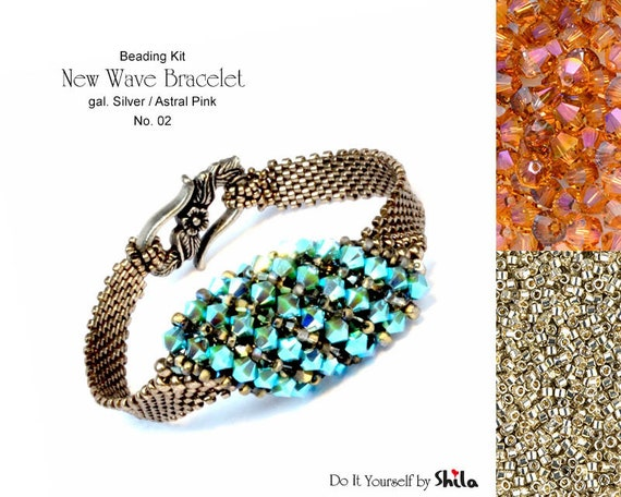 Beading Kit of New Wave Bracelet No 02 - Silver/Astral Pink