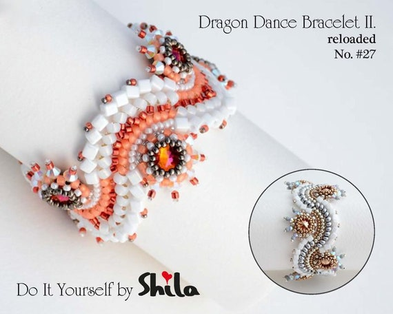 Beading Pattern Tutorial Step by step INSTANT download PDF - Dragon Dance Reloaded II. Bracelet  with No 27