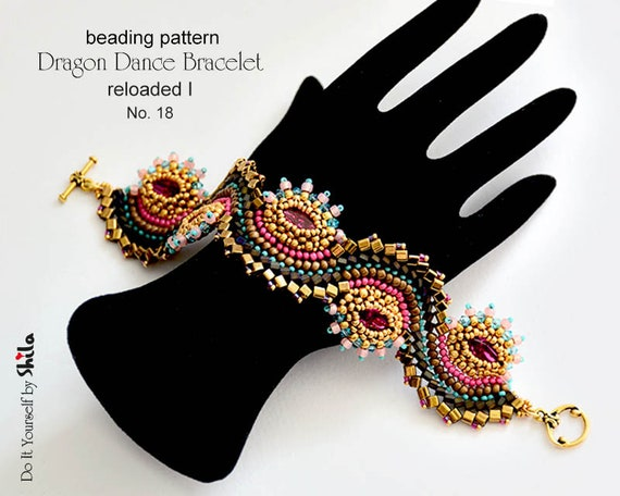 Beading Pattern Tutorial Step by step INSTANT download PDF - Dragon Dance Bracelet reloaded I. No 18