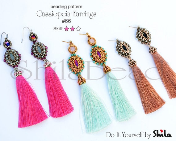 Beading Pattern Tutorial Step by step INSTANT download PDF - Cassiopeia Earrings No 66