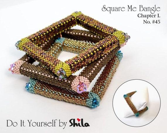 Beading Pattern Tutorial Step by step INSTANT download PDF - Square Me Bangle Chapter I. Bracelet No 45