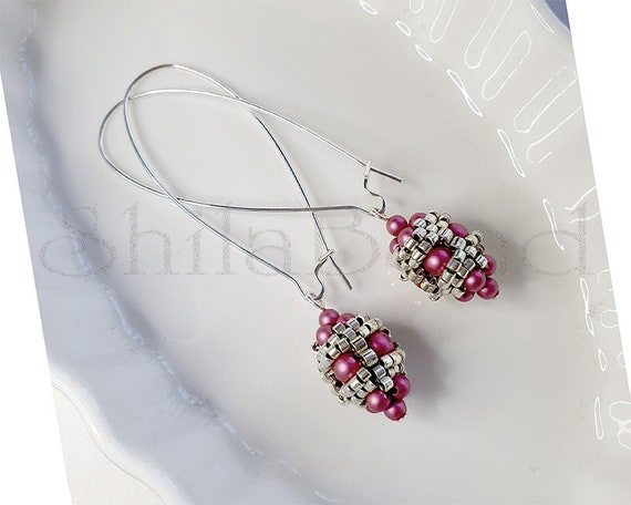 Beaded Ball Earrings - Mulberry Pink