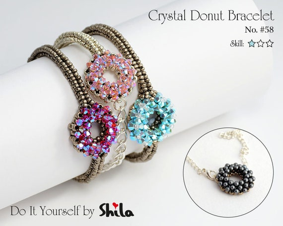 Beading Pattern Tutorial Step by step INSTANT download PDF - Crystal Donuts Bracelet No 58