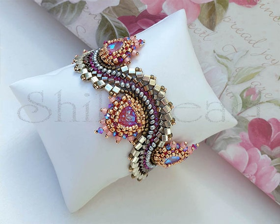 Beading Kit of Gypsy Dance Bracelet No. 29 Silver/Lotus Pink