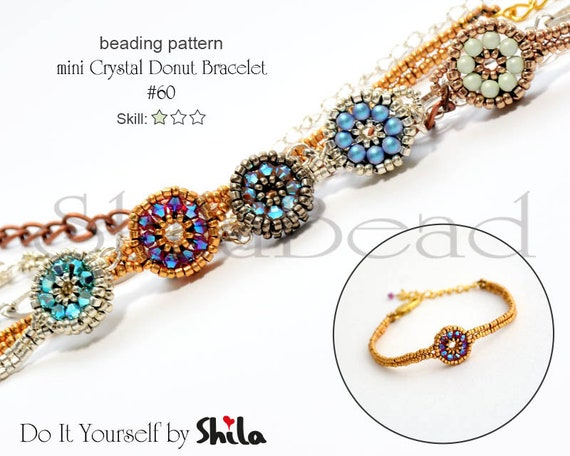 Beading Pattern Tutorial Step by step INSTANT download PDF - mini Crystal Donuts No 60