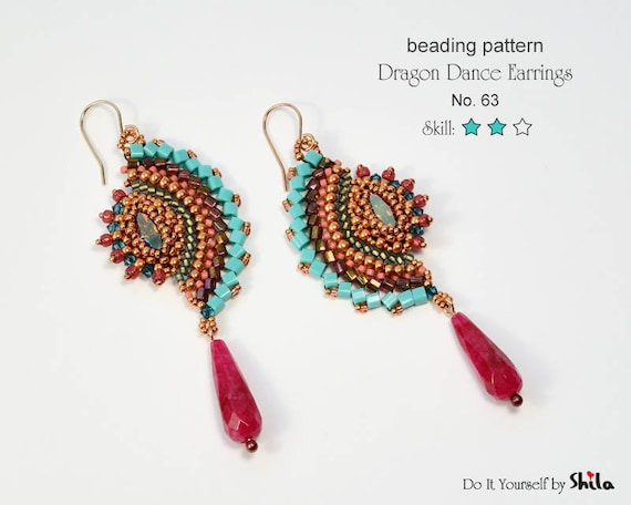 Beading Pattern Tutorial Step by step INSTANT download PDF - Dragon Dance Reloaded Earrings I. No 63