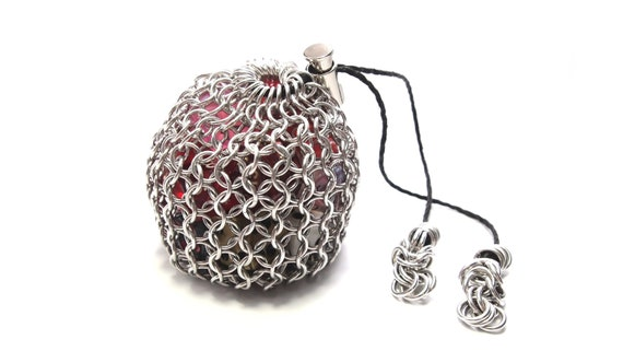 Silver and Green Chainmaille Pouch with Leather Drawstring Red