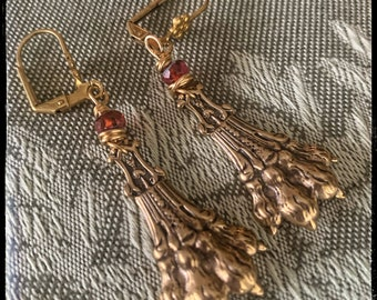 In great Honor & dedication to Phillippe with his Lion rule. Father figurehead.Earrings 3 ways w/ Red Ruby glass faceted beads.