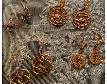 All Souls Trilogy -Deb Harkness - 4 earrings as different sets - golden bronze earrings. Gems and vintage beads. Gold wire. French ear wires