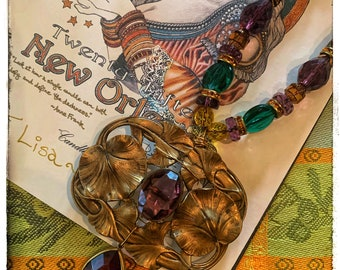 Decadence a la Mardi Gras Collection from Iris Naomi - original. Vintage and antique components and beads. Art Nouveau pendant - Amethyst...