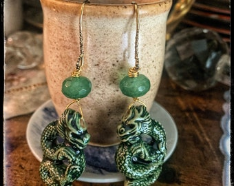 Corra All Souls Trilogy by Deb Harkness.Raku Ceramic Firedrake- green vintage faceted Jade & Citrine Dotted bronze ear wires. Gold and green