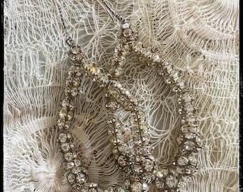 Old world Vintage Rhinestone ball earrings - loops.  Sterling Silver dotted ear loops. Elegant and fancy.