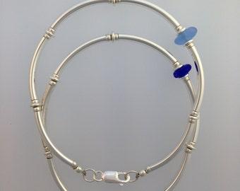 Tube Bracelet with Sea Glass