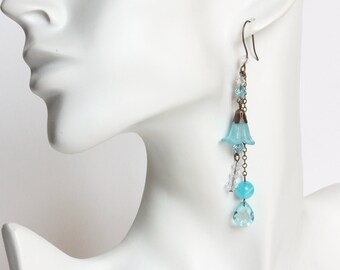 Blue Trumpet Flower Earrings with Dangles
