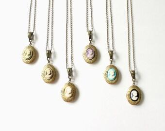 Mini Cameo Bronze Locket Necklace