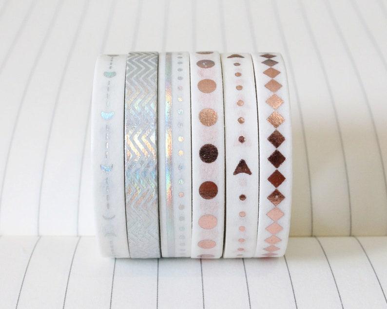 Thin metallic washi tape set of 3 in silver or rose gold