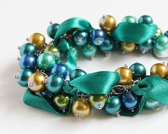 Peacock Color Cluster Bracelet and Earrings Set