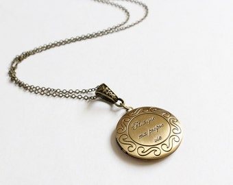 Plus que ma propre vie (more than my own life) matte bronze locket necklace