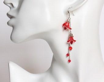 Double Red Trumpet Flower Dangle Earrings