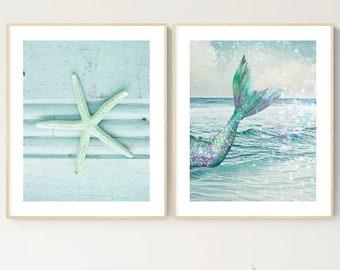mermaid starfish wall decor set of 2 prints under the sea wall art pastel mint blue green coastal beach prints mermaid tail nursery decor