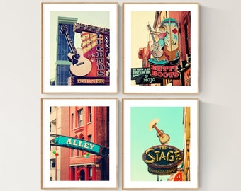 Nashville signs set of 4 prints gallery wall art Nashville art gifts apartment decor city photography Nashville gifts country music decor