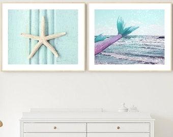 mermaid starfish print set of 2 under the sea artwork coastal beach prints little girl room decor mermaid gifts under 25 bathroom wall art