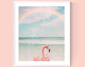 flamingo art tropical bird tween girl bedroom art rainbow sky coastal wall art beach cottage decor tropical nursery little girl bedroom art