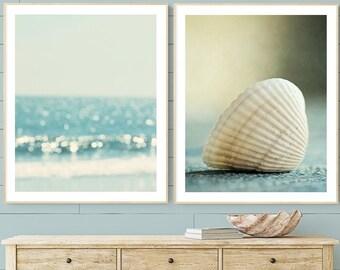 coastal wall art set of 2 nautical prints seashell art abstract beach wall decor ocean photography coastal home decor nautical bathroom art