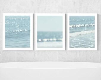 beach prints nautical wall decor ocean photography abstract art coastal wall art coastal print set of 3 light blue wall art ocean decor