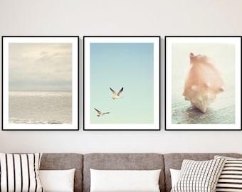 beach prints coastal wall art Ocean decor nautical wall decor print set of 3 ocean photography pale blue wall art seagulls shell photography