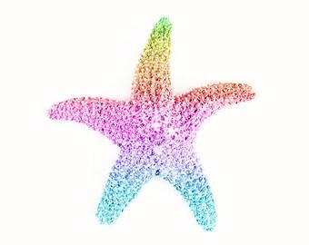 starfish photo, mermaid decor, rainbow art, coastal wall art, beach house decor, starfish decor, nursery art girl, under the sea wall art