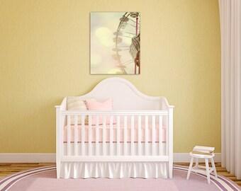ferris wheel large wall art canvas baby girl nursery decor art pale yellow wall decor art fine art canvas print
