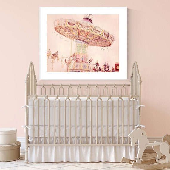 pink nursery picture little girl room decor carnival wall art pastel wall  art print toddler girl bedroom decor pink wall decor photography