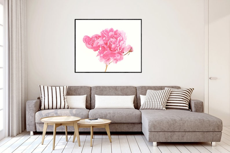 Peony photography print pink peonies floral wall art bedroom | Etsy