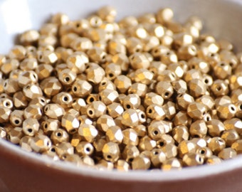 50 pieces of matte metallic flax 4 mm fire polished czech crystal beads (CZ04-28)