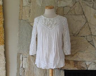 384b40beb187eb Lace and Gauze White Peasant Blouse, Flowy Bohemian Shirt, White Blouse  Medium