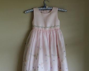 Childrens Pink Vintage Organdy Chiffon Dress, Embroidered Dress, Flower Girl Dress,  Size 4