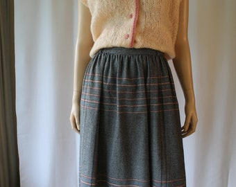 vintage plaid skirt 70s wool skirt w 26 small
