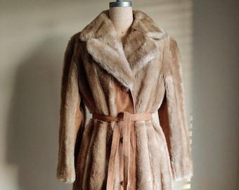 60s Mod Tissavel Faux Fur Coat with Suede 44 inch bust 60s Faux Fur Coat Camel Suede XL