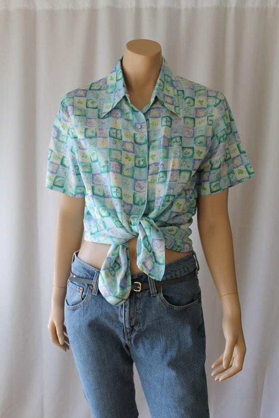 Silk Watercolor Shirt - Botanical Shirt - 80s Silk